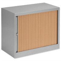 Bisley Desk High Tambour Door Cupboard W800mm Silver Frame & Beech Shutters