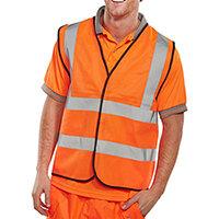 B-Seen High Visibility Waistcoat Full App Vest Size S Orange Ref WCENGORS