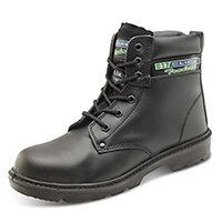 Click Traders S3 6in Safety Boots PU/Leather Size 6 Black - Shock Absorber Heel, Anti-static & Oil Resistant Sole, Slip Resistant, Water Resistant Upper Leather Ref CTF20BL06