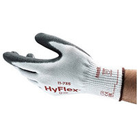 Ansell HyFlex 10 Gauge, Size 8 Cut-Resistant Palm Coated Medium-Duty Work Gloves Grey/White