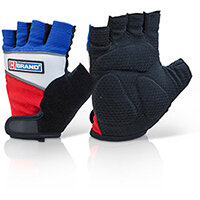 B-Brand Fingerless Gel Grip Gloves Size XL - Extra grip, Gel Inserts, Comfort Fit, Reflective Piping, Ideal for use with Power Tools, For Sport or Gym Use. Ref FGG01XL