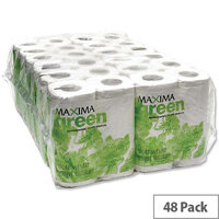 Maxima Green Toilet Paper Tissue Rolls 200 Sheets White Pack of 48