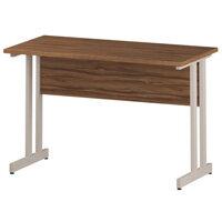 Rectangular Double Cantilever White Leg Return Office Desk Walnut W1200xD600mm