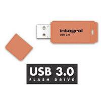 Integral Neon 128GB USB 3.0 Flash Drive Orange