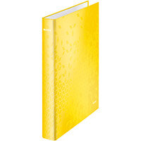 Leitz WOW Ring Binder 2 D-Ring 25mm Size A4 Yellow Ref 42410016 Pack of 10