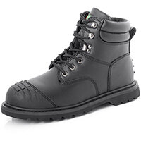 Click Footwear Goodyear Welted Safety Boots TPU With Scuff Cap Leather Black Size 6 - Steel Toe Cap & Midsole Protection, Robust TPU Scuff Cap & Heel Kick Off, Heat Resistant, Slip Resistant Ref GWBMSSCBL06