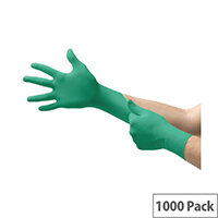 Ansell TouchNTuff 92-500 Size 10 XL Durable Disposable Powdered Nitrile Gloves Green Pack of 1000 Ref AN92-500XL