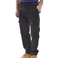 Click Workwear Polycotton Combat Work Trousers 28 inch Waist with Regular Leg Black Ref PCCTBL28