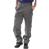 Click Heavyweight Drivers Trousers With Flap Pockets 30 inch Waist with Regular Leg Grey Ref PCT9GY30
