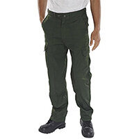 Super Click Workwear Drivers Work Trousers 30 inch Waist with Regular Leg Bottle Green Ref PCTHWBG30