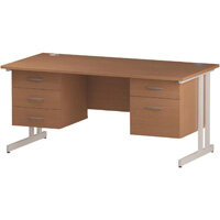 Rectangular Double Cantilever White Leg Office Desk With 2 Fixed Pedestals 3/2 Drawer Beech W1600xD800mm