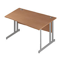 Wave Double Cantilever Silver Leg Right Hand Office Desk Beech W1400mm