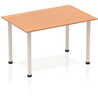 Modular Rectangular Table Oak with Silver Tubular Steel Frame W1200xD800mm