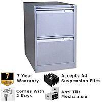 2 Drawer Steel Filing Cabinet Flush Front Silver Bisley BS2E