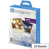HP Social Media Snapshots 10x13cm Removable Sticky Photo Paper 265gsm (25 sheets)