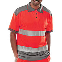 B-Seen Hi-Vis Polyester Two Tone Polo Shirt Size XL Red & Grey Ref CPKSTTENREGYXL