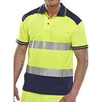 B-Seen Hi-Vis Polyester Two Tone Polo Shirt Size L Saturn Yellow & Navy Blue Ref CPKSTTENSYL