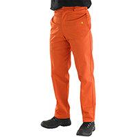 Click Fire Retardant Work Trousers 300g Cotton 48 inch Waist with Regular Leg Orange Ref CFRTOR48