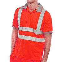 B-Seen Short Sleeve Hi-Vis Polo Shirt Size L Red Ref BPKSENREL