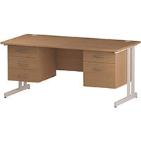 Rectangular Double Cantilever White Leg Office Desk With 2 Fixed Pedestals 3/2 Drawer Oak W1600xD800mm