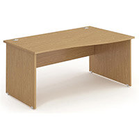 Wave Panel End Right Hand Office Desk Oak W1600mm