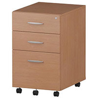 Tall 3 Drawer Under Desk Mobile Pedestal Beech