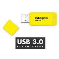Integral Neon 128GB USB 3.0 Flash Drive Yellow