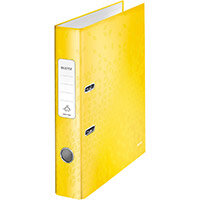 Leitz WOW Lever Arch File 80mm Spine for 600 Sheets A4 Yellow Ref 10050016 Pack of 10(REDEMPTION)Jan-Mar20
