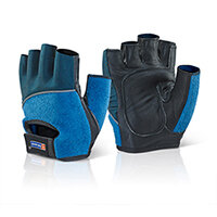 B-Brand Fingerless Gel Grip Gloves Size M Blue- Extra grip, Gel Inserts, Comfort Fit, Reflective Piping, Ideal for use with Power Tools, For Sport or Gym Use. Ref FGGM