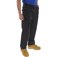 Click Heavyweight Drivers Trousers With Flap Pockets 28 inch Waist with Tall Leg Black Ref PCT9BL28T