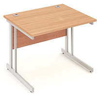 Rectangular Double Cantilever Silver Leg Office Desk Beech W1000xD800mm