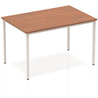 Modular Rectangular Table Walnut with Silver Box Frame W1200xD800mm