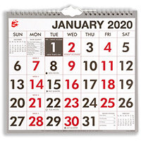 5 Star Office 2020 Wall Calendar Month to View Wirebound 135gsm Paper 249x231mm White/Red