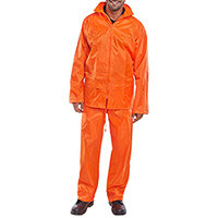 B-Dri Weatherproof Nylon Protective Work Coverall Suit Size XL Orange Ref NBDSORXL