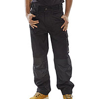 Click Premium Work Trousers With Multipurpose Holster Pockets 30 inch Waist with Tall Leg Black Ref CPMPTBL30T