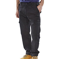 Click Workwear Polycotton Combat Work Trousers 34 inch Waist with Regular Leg Black Ref PCCTBL34