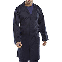 Click Workwear Poly Cotton Warehouse Coat 46in Chest Navy Blue Ref PCWCN46