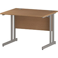 Rectangular Double Cantilever Silver Leg Office Desk Oak W1000xD800mm
