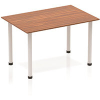 Modular Rectangular Table Walnut with Silver Tubular Steel Frame W1200xD800mm