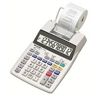 Sharp EL-1750V Printing Calculator 12-Digit Display Black/Red Print Grey
