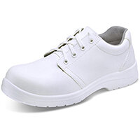 Click Footwear Micro Fibre Washable Tie Work Shoes S2 Steel Toe Cap Size 10.5 White - Slip Resistant & Shock Absorber Heel, Anti-static & Oil Resistant Sole, Water Resistant Upper Ref CF82210.5