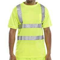 B-Seen Hi-Vis Crew Neck T-Shirt Size M Saturn Yellow Ref BSCNTSENSYM