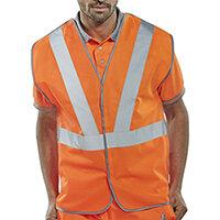 B-Seen High Visibility Railspec Polyester Work Vest With Retro Reflective Tape Size M Orange Ref RSV02PM