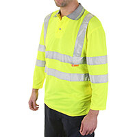 B-Seen Hi-Vis 3/4 Sleeve Polyester Polo Shirt Size 3XL Saturn Yellow Ref BPK3QSYXXXL
