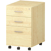 Tall 3 Drawer Under Desk Mobile Pedestal Maple