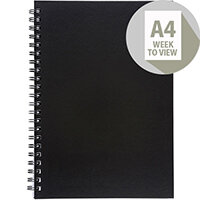 5 Star Office 2020 Diary Week to View Wirobound Vinyl Coated Board A4 297x210mm Black