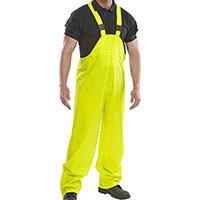 B-Dri Weatherproof Super Bib & Brace PU Coated Protective Trousers Size 2XL Saturn Yellow Ref SBDBBSYXXL