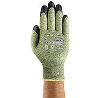 Ansell ActivArmr 13 Gauge, Size 8 Heat/Cut Resistant Medium-Duty Work Gloves Black/Green