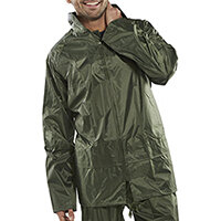 B-Dri Weatherproof Lightweight Nylon Jacket with Hood Size S Olive Green Ref NBDJOS