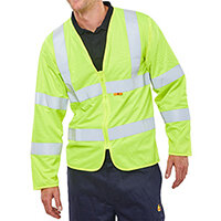 Click Fire Retardant Hi-Vis Jerkin Long Sleeve Size 3XL Saturn Yellow Ref CFRPKJSYXXXL